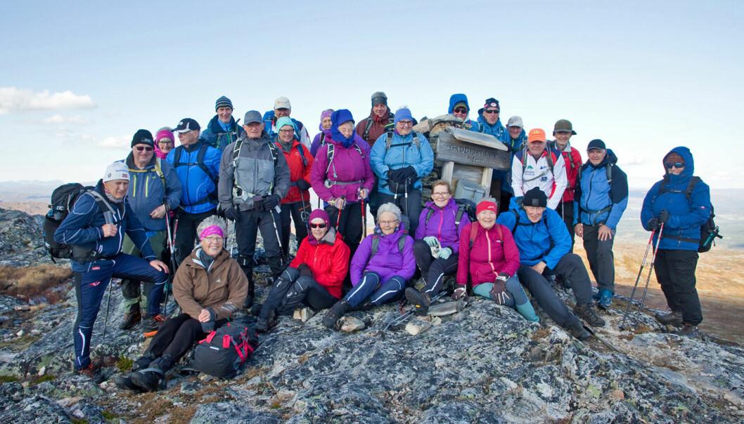 Fornøyd turgruppe på Gaddfjellet.