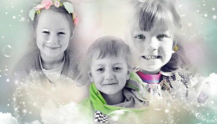 Gullkorn fra barnemunn er alltid morsomt å skrive. Her er Ylva Bæverfjord, Håkon Sundli Segtnan og Sunniva Fiske i 2015