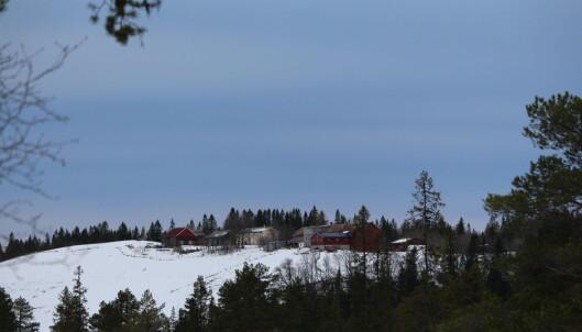 Her ser du sørsida av gårdene Stomprød og Storli som har flott utsikt mot Trollheimen.