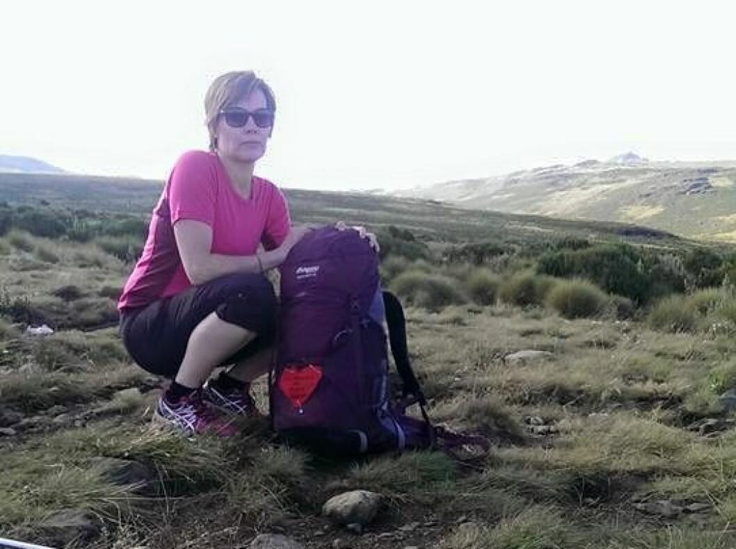 Ingrid på vei opp til Mount Kenya i 2016