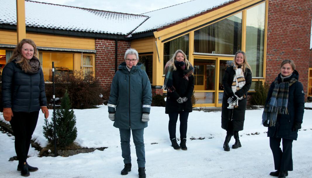 Marit Moe Kvendbø (f.v.), Gunn Bredesen, Heidi Elnes Fiske, Anne Lise With Wullum og Margrethe Svinvik.