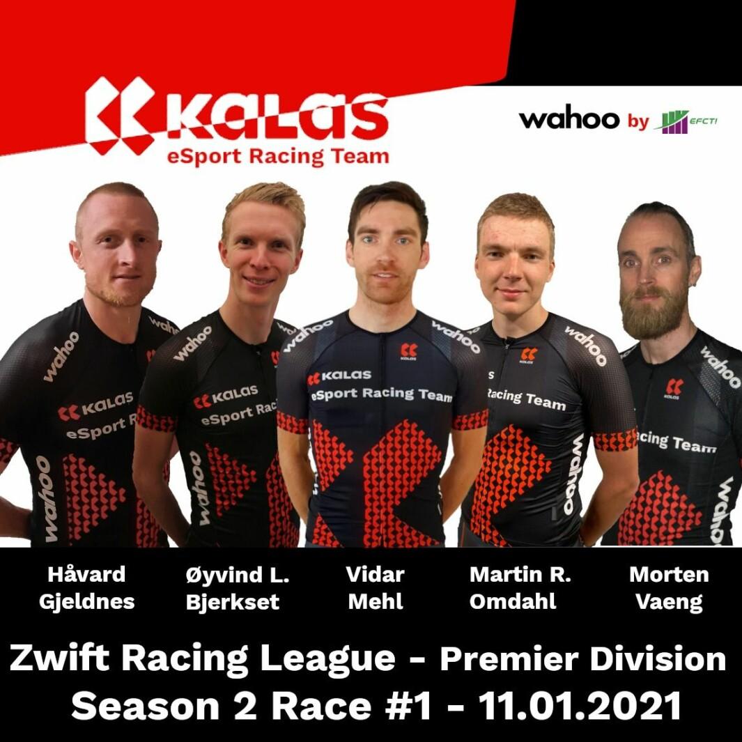 Håvard Gjeldnes og lagkameratene i Kalas eSport Racing Team, som mandag syklet Richmond UCI Reverse.