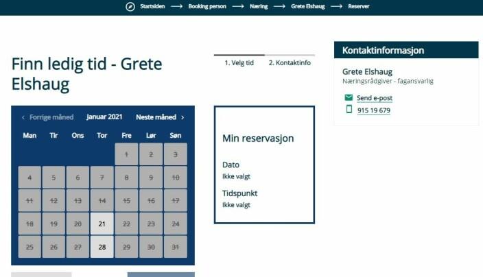 Skjermdump fra Rindal kommune sin hjemmeside
