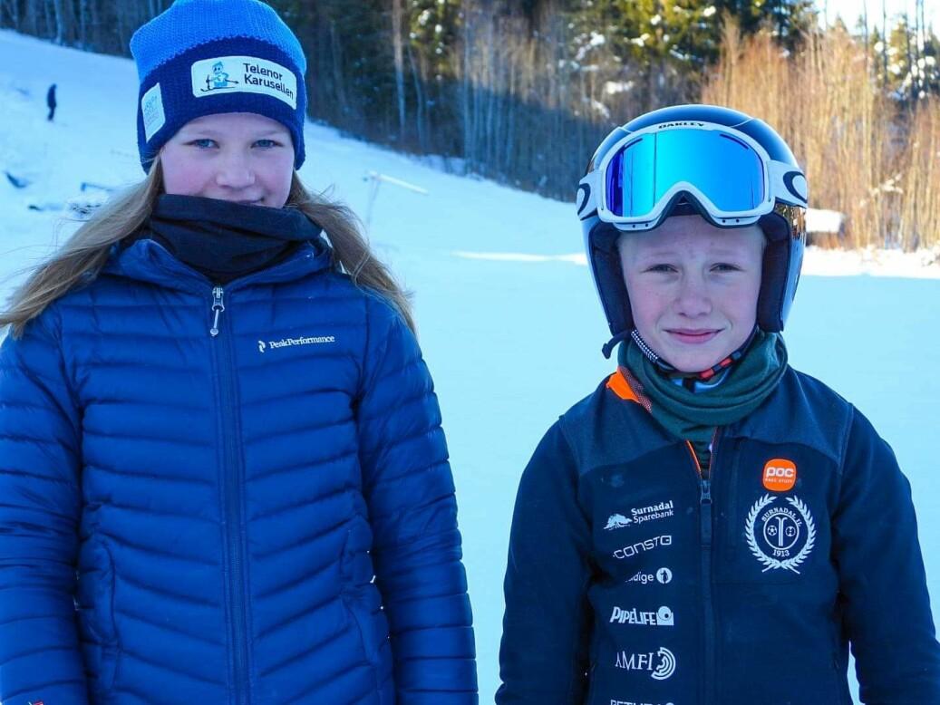 Selma Stavik Heggset og Even Rodal Haugen, U12, førsteplass i sin klasse
