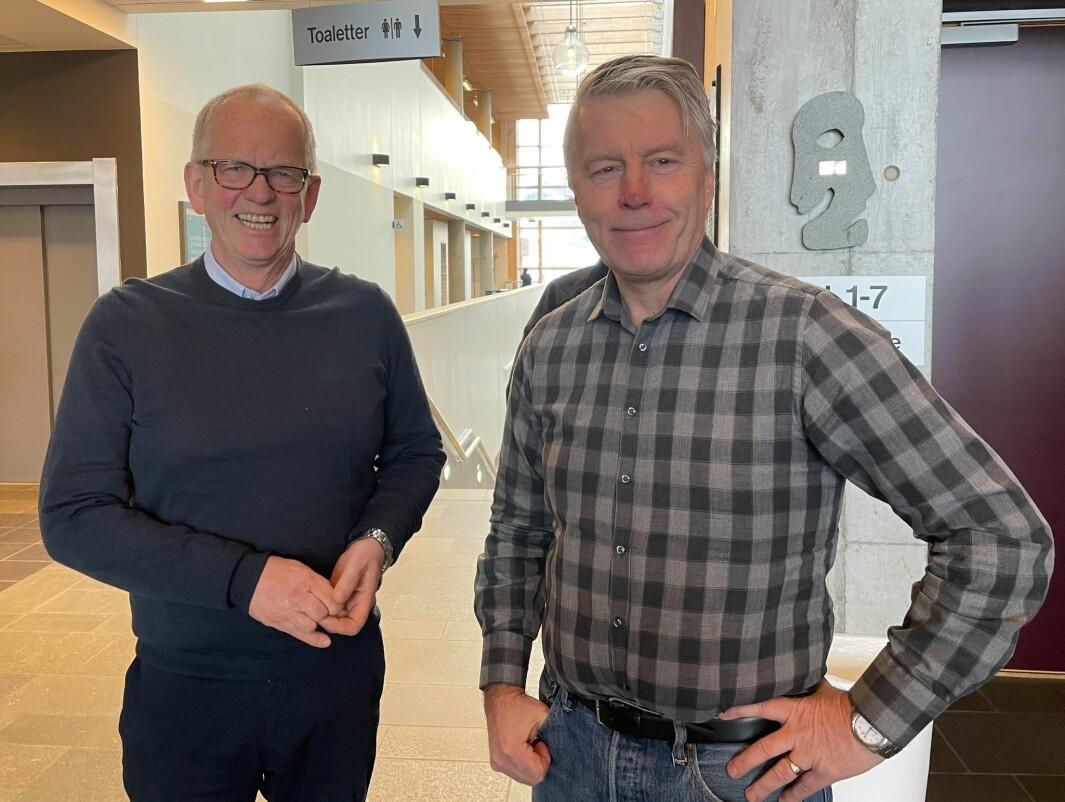 Magne Løfaldli (t.v.) fra Innveno og Per Anders Folladal i Proneo vil opprette og fasilitere to digitale kompetansesentre i Surnadal og Verdal, i tråd med WoodWorks! Cluster sin utviklingsstrategi. Nå setter de i gang temasamlinger for å hjelpe bedrifter i Midt-Norge i gang med smartere produksjon.
