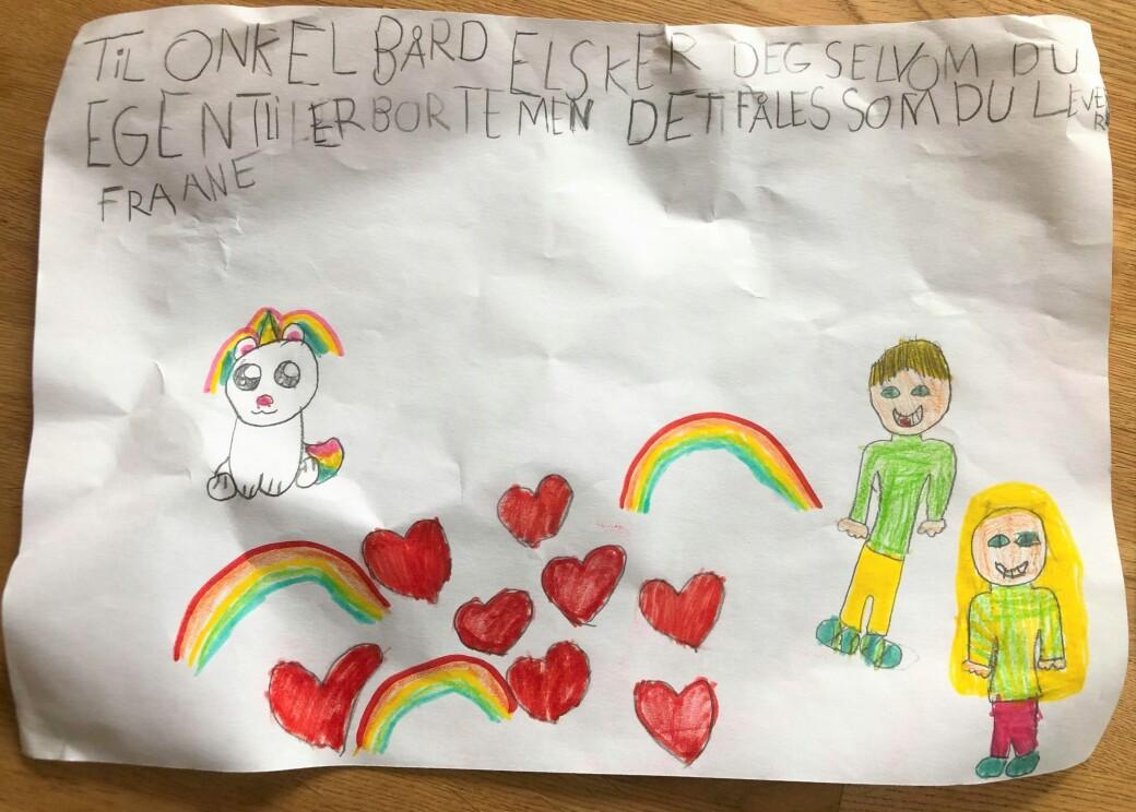 Helles datter, Ane (7 år), har tegnet denne flotte tegningen til onkel Bård