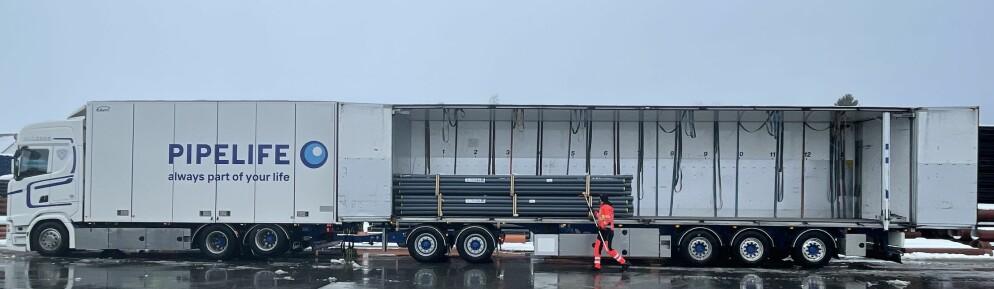 Ett av to nye modulvogntog på 25,5 meter. Surnadal Transport har bestilt tre til.