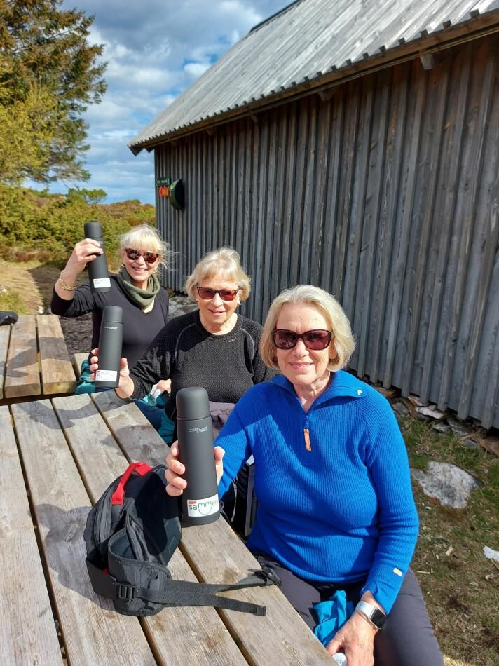 Turgruppen «Firkløveret» fra høyre: Tove Saltkjelvik, Astrid Hansen og Marianne Lystrup.
