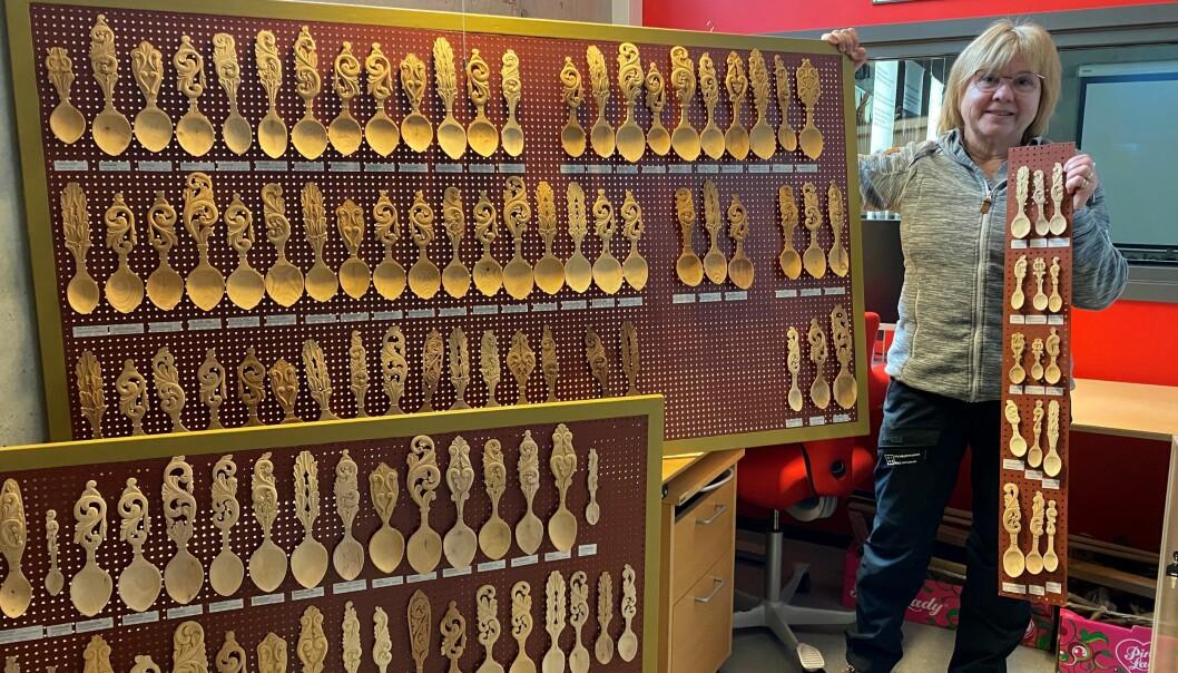 Treskjeene skal stilles ut i kjelleren på skimuseet.