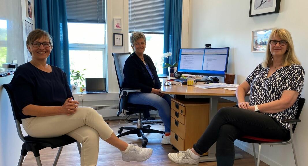 Helse- og omsorgsleder Grete Ranes Heggem, IKT-ansvarlig Tove Schei og arkivleder Vigdis Trønsdal.