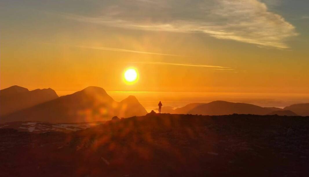 Fantastisk solnedgangstur på Hjelmen i går kveld.