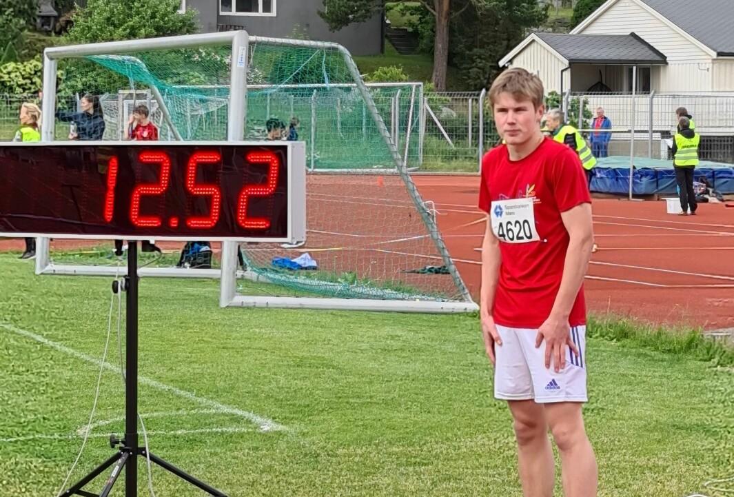 Sondre Andersen. 12,52 på 100 meter ga gull.