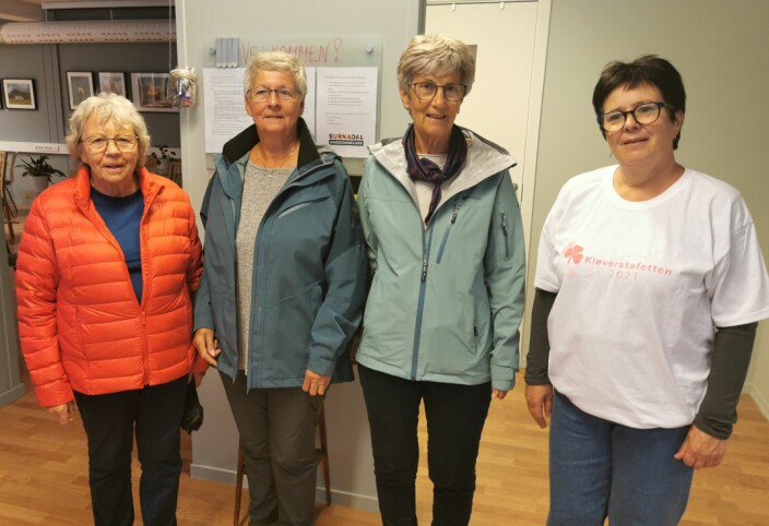 Trimdamer. Fra venstre Liv Larsen, Synnøve Talgø, Jorun Ørsal og Siri Vullum