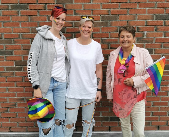 Gjensyn: Merete og Marie Elise Husby-Martinussen sammen med Lilly Gunn Nyheim