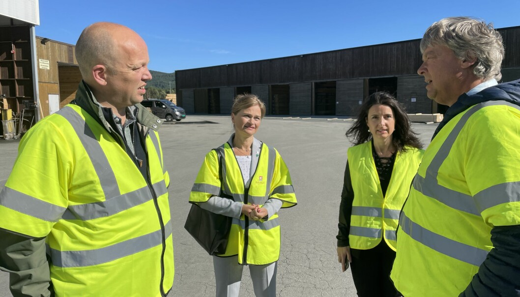 Trygve Slagsvold Vedum (f.v.), Margrethe Svinvik, Jenny Klinge og Terje Talgø.