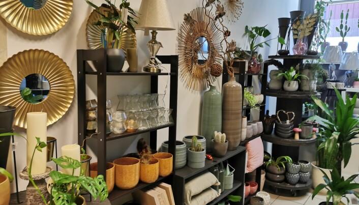 Surnadal Blomster selger også interiørartikler samt et bredt utvalg krukker