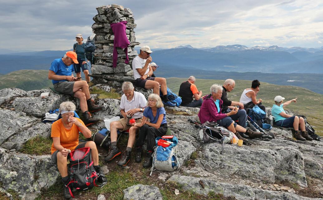 Fra toppvarden på Hjelmkona ser vi fjerne fjell i alle retninger. Et fantastisk rundskue! God sikt da vi var der.