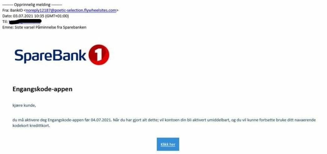 Eksempel på forsøk på phishing.