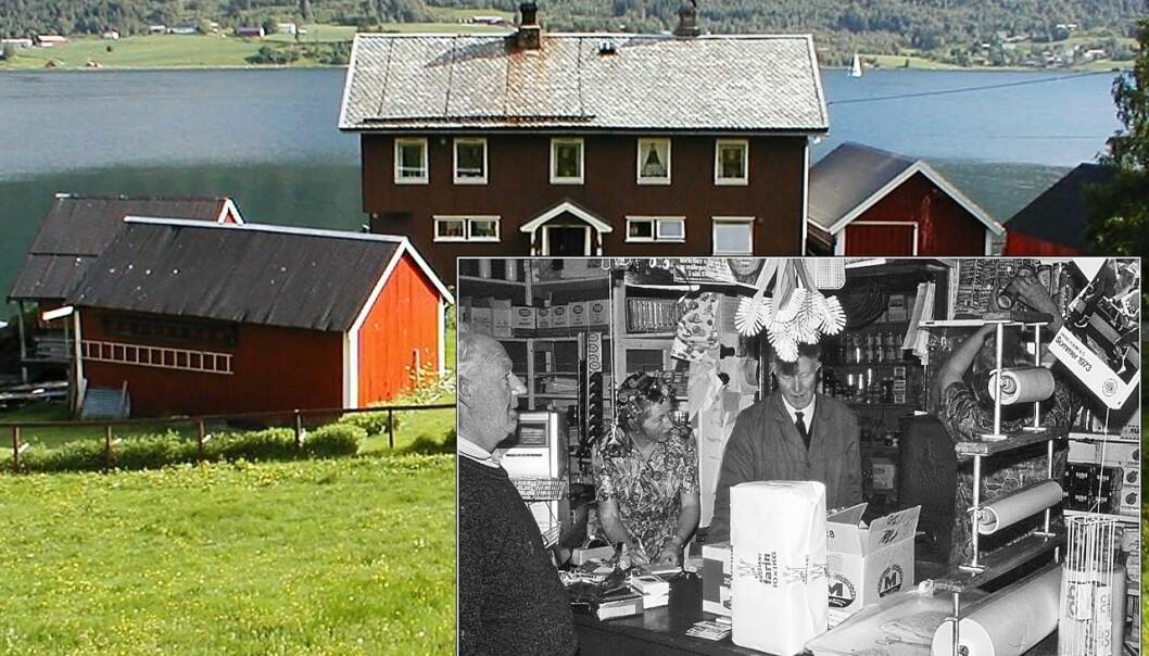 Skrøvsetvika: Knutepunkt med handel, dampskipsanløp, buss og post. Innfelt: Siste dag på Orsetbua – 1973. Hermann Bekken (frå v.), Valborg Orset, Anton Orset og Karen Orset.