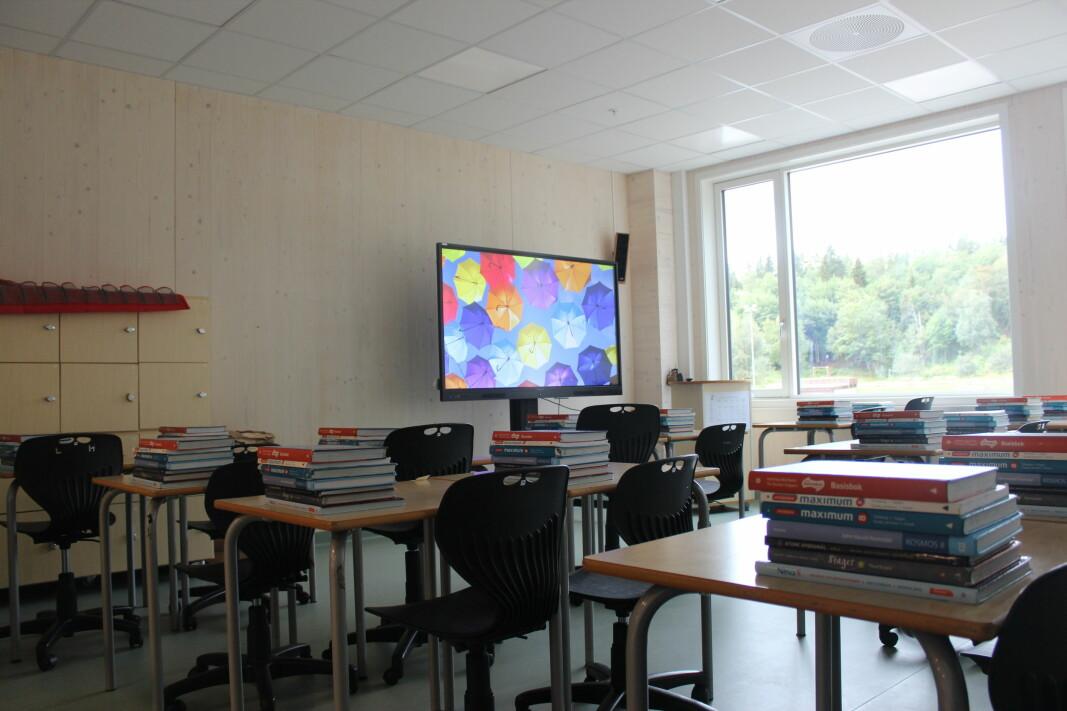 Klasserom i 2. etasje. Store vinduer slipper mye naturlig lys inn