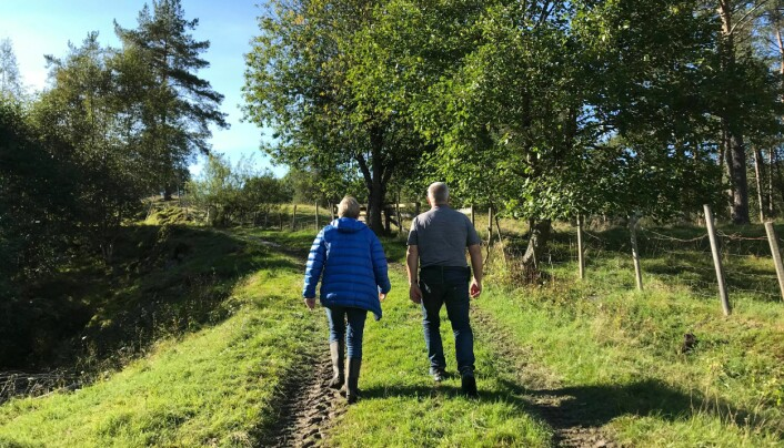 Anne Sofie Dønnem og Steinar Ranes på veg opp til Bruahaugen