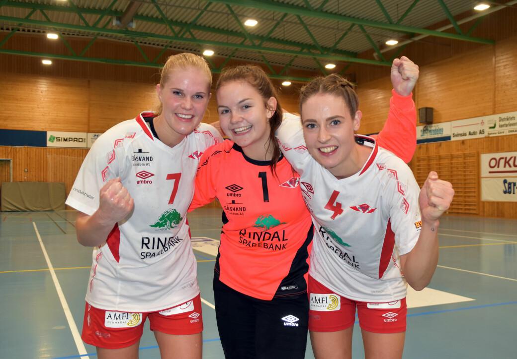 Anja Søyseth, Maren Halgunset og Gro Anita Bolme er alle med i lørdagens kamptropp (arkivbilde)