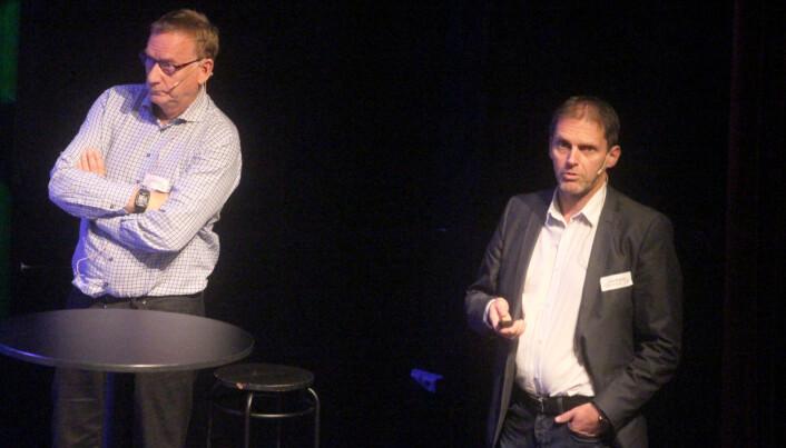 Styreleiar Lars Skrøvseth i Sollid Mek. Verksted og Hans Mogstad, teknisk sjef i Pipelife Norge.
