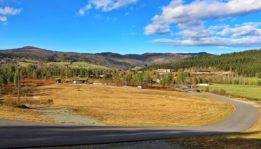 Oversiktsbilde over Igltjønna Skistadion. Skåkleiva til venstre. Gården Austistua Landsem til høyre.