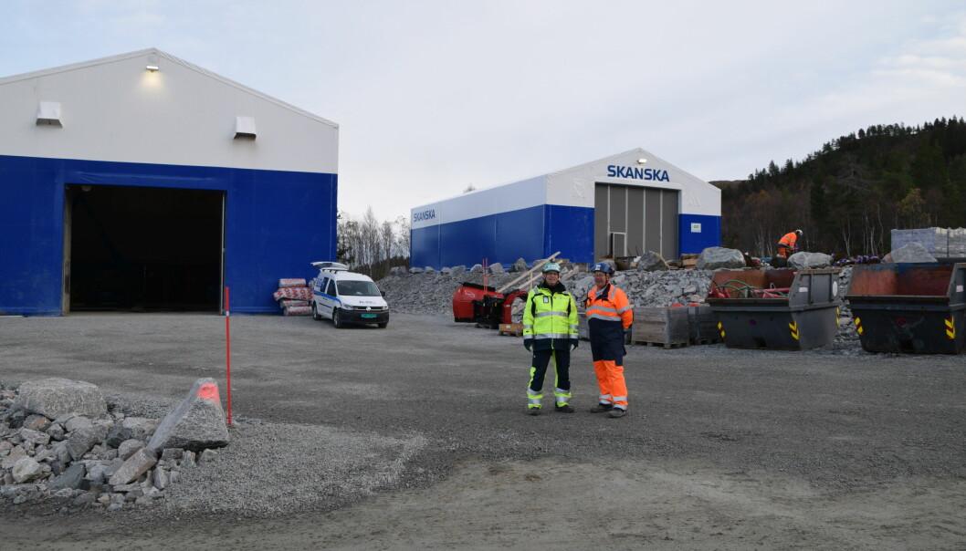 Her ved Foldsjødammen har Skanska fått på plass verkstedhall og lagerhall.