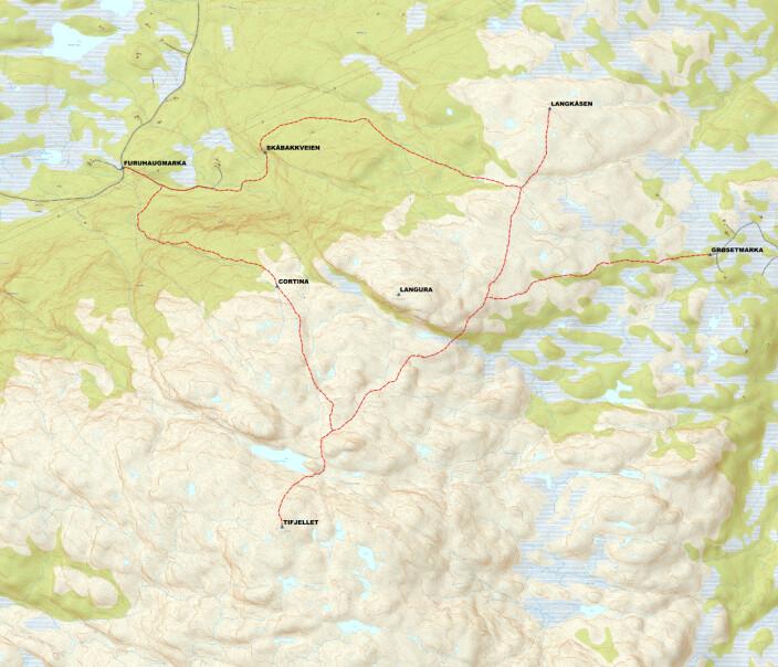 Kart over de merka stiene til Langkåsen og Tifjellet, med startpunktene Grøsetmarka og Furuhaugmarka. laget av Rune Løfald i Turstigruppa.